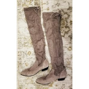 Office Hideout Gray Suede Flat Over the Knee Boots
